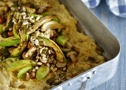 Potato bake with avocado, mushrooms and seeds