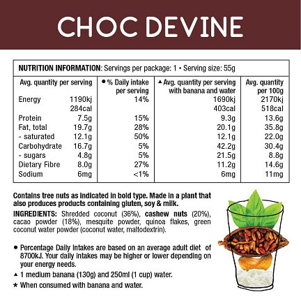 Real food smoothie choc devine nutrition information