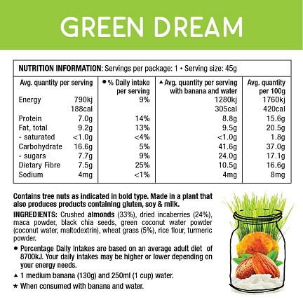 Real food smoothie green dream nutrition information