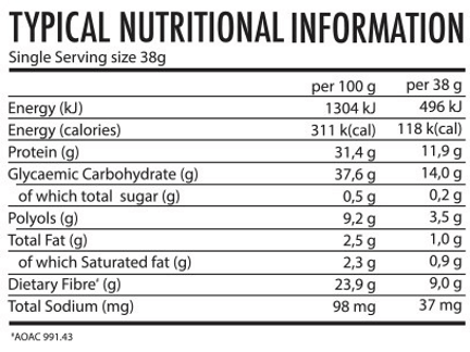 Youthful Living Protein Cereal Bar Milk Tart Nutritional Information